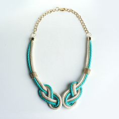 Under the Sea, Turquoise Gold Leather Handmade Necklace by Knotty Gal | Knotty Gal Accessories
