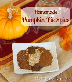 Homemade Pumpkin Pie Spice Ingredients    1 1/2 teaspoons cinnamon  3/4 teaspoon ginger  3/4 teaspoon nutmeg (or 1/4 teaspoon freshly ground nutmeg)  1/8 teaspoon allspice  1/8 teaspoon cloves  Pinch of cardamom (optional)  Instructions    Combine all ingredients in a small, sealable container.  Shake (or stir) until well combined.  Store in a sealed jar in a cool, dark place.