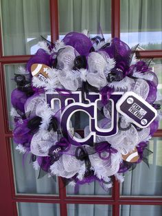 TCU Horn Frogs College Football Deco Mesh Door Wreath by Crazyboutdeco on Etsy
