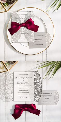 burgundy and gray laser cut wedding invitations