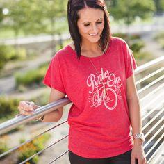 Bicycle Tee Shirt - Ride On Girl, Red Dolman #mysisterstee