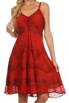Sakkas 4031 Stonewashed Rayon Embroidered Adjustable Spaghetti Straps Mid Length Dress - Red - S/M Sakkas http://www.amazon.com/dp/B00DMEG1WW/ref=cm_sw_r_pi_dp_DOyZub0SN5VFS