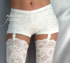 Nylons, White Lace Shorts, Black High Waisted Shorts, Suspender Pants, Silk Stockings, Jeans For Short Women, Spandex Shorts, Pretty Lingerie, Hot Pants