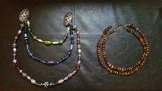 Baltic Amber Necklace and chain of lampwork beads (mostly) for my apron dress