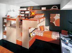 Teen Room Orange Furniture with Loft Bed and Study Desk – Contrasting Teen Room Design Kids Bedroom Designs, Bunk Bed Designs, Awesome Bedrooms, Cool Rooms, Awesome Beds, Loft Spaces, Small Spaces, Small Rooms, Bedroom Loft