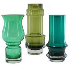 Trio of Riihimaki vases Bulb Vase, Lassi, Mid Century Art, Retro Art, Carnival Glass, Unique Furniture, Colored Glass, Stained Glass, Glass Art