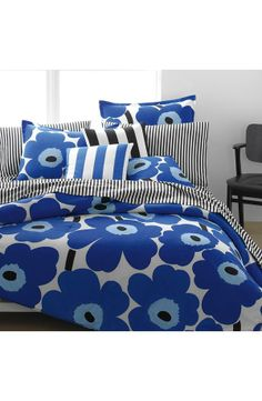 Marimekko Unikko True Blue Duvet Cover and Comforter Sets Marimekko Bedding, Blue Bedding, Blue Duvet, Dream Bedroom, Blue Bedroom, Comforter Sets, Designer, Comforters, Duvet Covers