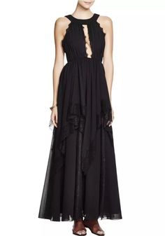 FREE PEOPLE Ivory Tower Maxi in Black Size 2  350.00 NWT OB444393   FreePeople  ModifiedALineMaxiSheath eb6967f12cac