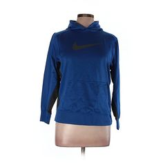Pre-owned Nike Pullover Hoodie Size 12: Blue Women's Tops (30 NZD) ❤ liked on Polyvore featuring tops, hoodies, blue, hooded pullover, hoodies pullover, blue hoodies, nike top and hooded sweatshirt