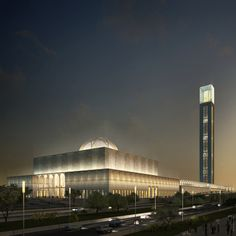 """Completed in 2016 in Algeria. Images by KSP Juergen Engel Architekten. As part of the celebrations of Algeria's National holiday on November the foundation stone for the new """"Mosquée d'Algérie"""", designed by KSP. Mosque Architecture, Sacred Architecture, Religious Architecture, Modern Architecture, Beautiful Mosques, Beautiful Places, History Of Islam, Islamic World, Islamic Art"""