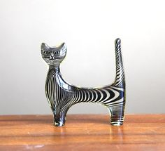 What a fun Cat!!   Vintage Mod Black Striped Cat Figurine by CaprockVintage on Etsy, $14.00