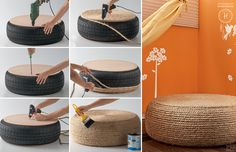 One of a kind ottman made of tyre and cord so easy to make at home.