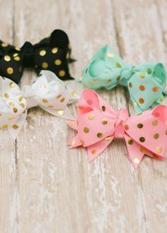 The Hair Bow Company - Gold Polka Dot Hair Bow, $3.99 (http://www.thehairbowcompany.com/gold-polka-dot-hair-bow/)