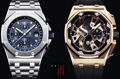 """Audemars Piguet has unveiled 3 new """"Royal Oak Offshore"""" models for its anniversary. Two of which have a tourbillon and skeleton dial. Audemars Piguet Watches, Audemars Piguet Royal Oak, Royal Oak Offshore, Old Watches, Hand Watch, Iwc, Mechanical Watch, 25th Anniversary, Casio Watch"""