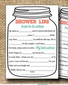 Bridal Shower Game-- Mason Jar Theme Shower Game, Mad Libs for the Bride to Be-Customization NOT Included.Please do this for my bridal shower Wedding Shower Games, Bridal Shower Party, Wedding Games, Wedding Planning, Wedding Ideas, Wedding Venues, Bridal Showers, Bridal Games, Wedding Speeches