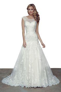 Floor Length Long Ivory Lace Mermaid Cap Sleeves Wedding Dress