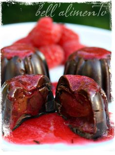 Nutella Truffles with Raspberry Sauce