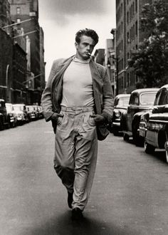James Dean was an influence of fashion with young men in America back in the fifties.