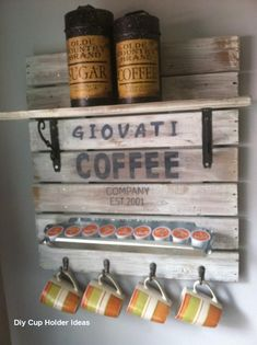 Diy Cup Holder Ideas Kitchen #diycupholderideas Coffee Cup Holder, Coffee Cups, Kitchen Signs, Kitchen Decor, Diy Cupboards, Coffee Bar Signs, Decorated Jars, Personalized Signs, Rustic Wood