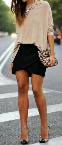 Pink.blouse with black skirt black pencil skirt with blouse leopard print clutch