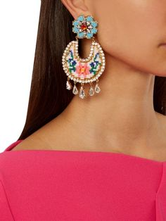 Fiesta Tasseled Gold-plated, Resin, Bead And Pearl Clip Earrings - Blue Mercedes Salazar