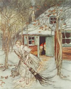 Advent Dec.12th: a snowy scene by Arthur Rackham to accompany the Brothers Grimm tales in Little Brother and Little Sister.