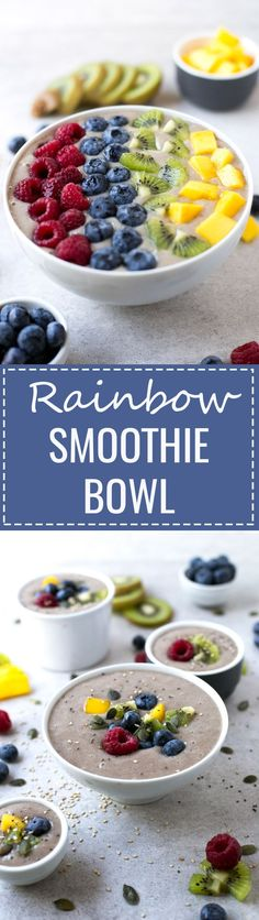 Rainbow Smoothie Bowl - Smoothie bowls are great for breakfast. You just need to blend the ingredients, place the smoothie in a bowl and add your favorite toppings.