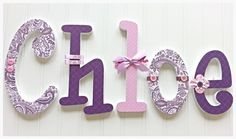 """6"""" Custom Wooden Nursery Letters - ANY THEME and FONT  available in this shop - Baby Nursery Letters, Wall, Decor, Kid's Room"""