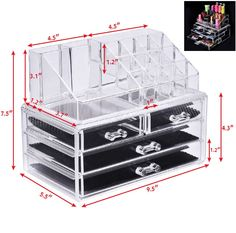 Keep your makeup neat and tidy. Two small drawers and two small drawers. Fits perfectly on a shelf or dresser top. Four drawers for storage. Makeup Storage Box, Dresser Top, Small Drawers, Neat And Tidy, Acrylic Material, Jewellery Storage, Makeup Yourself, Wood Projects, Household