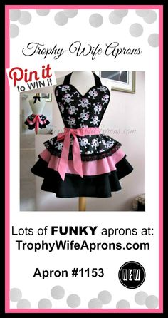 ☀ Apron #1153- GLAMOR GLAM SKULLS & CROSS BONES over pink & black retro hostess apron for women. Are you drooling yet? They look great to go out when wearing leggings and a tank top under. HUGE selection at https://www.facebook.com/TrophyWifeAprons - Sizes from T2 to adult 4XL. HUGE selection to choose from - Custom made or ready to ship aprons. ☀ ☀ PIN to WIN ☀ ☀ CLICK HERE for details==> https://sites.google.com/site/trophywifeaprons