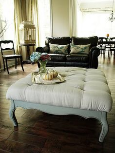 SUPER great directions on making a diamond-tufted ottoman from a canvas drop cloth and a coffee table from a thrift store - wow - BEAUTIFUL!