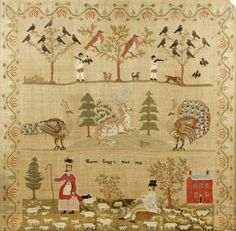 A large early Victorian needlework picture by Harriet Cragg, 1838
