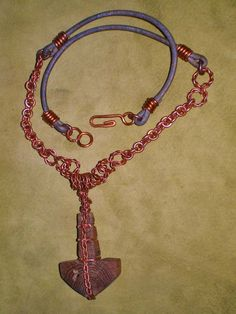 Lightning Struck Oak Mjolnir Thor's Hammer Pendant and Copper Chain Necklace by Nothos on Etsy