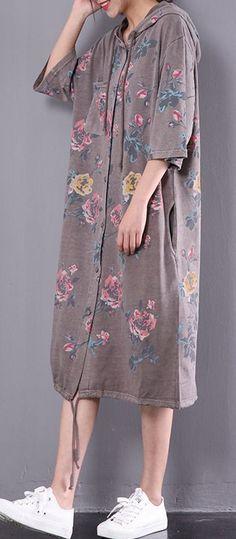 2017 khaki oversize cardigan half sleeve hooded cotton dress summer maxi dresses