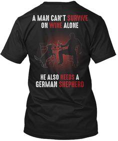 Man Survive On Wine With German Shepherd Black Camiseta Back German Shepherd Facts, German Shepherd Training, German Shepherd Puppies, Dad To Be Shirts, Survival, Wine, Mens Tops, T Shirt, Black