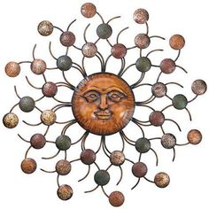Sun Circles Face Wall Art Sculpture