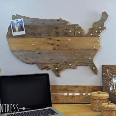 Learn how to make your very own pallet wood map on the blog today with the help of @kregjig (link in profile )! I'm using mine to keep track of all of the awesome states I've sent signs to! It also doubles as a vacation map (or an excuse to take an epic road trip and tack each state visited). Also, don't forget to enter my giveaway to win a free custom sign (see previous post)! Winner will be chosen on Friday!