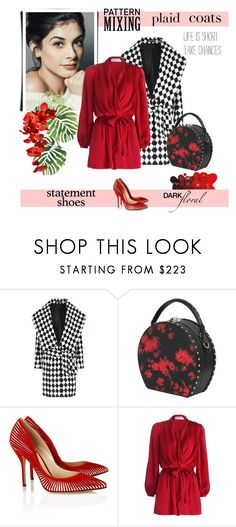 """Pattern mix: Plaid Coats"" by vittorio-1 ❤ liked on Polyvore featuring Balmain, Bertoni, Paul Andrew, Zimmermann, statementshoes, fashionset, plaidcoats and darkflorals"