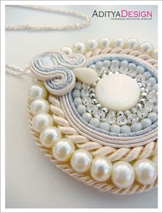 Handmade Soutache Necklace Pendant White Cream by AdityaDesign