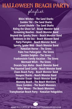 items for a Halloween beach party + a playlist Headed to the beach this summer? Keep it spooky in the sand and sun with these essential items for a Halloween beach party.including a playlist perfect for relaxing by the ocean. Halloween Playlist, Halloween Music, Halloween Movies, Holidays Halloween, Halloween Crafts, Happy Halloween, Halloween Party, Halloween Ideas, Spooky Music