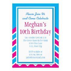 Teal Hot Pink Chevron Birthday Party Invitations