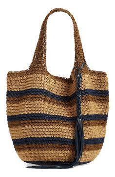 Caslon® Stripe Crochet Straw Shoulder Bag: - Bags and Purses 👜 Crochet Market Bag, Crochet Tote, Crochet Handbags, Crochet Purses, Crotchet Bags, Knitted Bags, Crochet Shell Stitch, Diy Handbag, Crochet Accessories