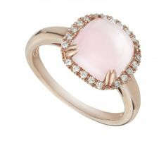 From our exclusive Candy Rocks collection of deliciously colourful gemstone rings. Inspired by the bygone era of glamour, this 9ct rose gold cocktail ring is set with a rose quartz cabochon, beautifully haloed by diamonds to enhance the stone's softly feminine hues. The perfect fusion of vintage aesthetics and meticulous, modern craftsmanship.  - 0523037 - £499