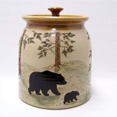 Bear Cookie Jars Collectibles | Bear Moose and Wolf Pottery Cookie Jar Limited by JimAndGina