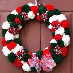 Excited to share the latest addition to my shop: Christmas PomPom Wreath Christmas Yarn Wreaths, Mason Jar Christmas Decorations, Christmas Tree Bulbs, Christmas Mason Jars, Silver Christmas, Simple Christmas, Christmas Crafts, Paper Flower Wreaths, Pom Pom Wreath
