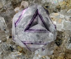 FluoriteLocality: Montoso Quarries, Ortieul, Bagnolo Piemonte, Cuneo Province, Piedmont, Italy Violet-colorless complex crystal of fluorite up to 1.2 mm. Photo: Bruno Marello Minerals And Gemstones, Rocks And Minerals, Natural Gemstones, Crystal Magic, Beautiful Rocks, Mineral Stone, Rocks And Gems, Stones And Crystals, Creations