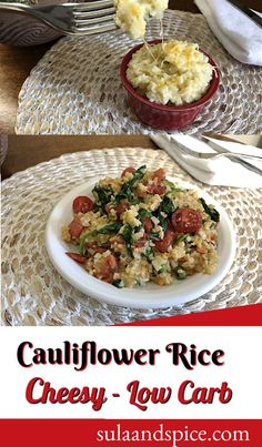 With only 4 ingredients and 10 minutes, you can make this easy cheesy cauliflower rice to go with all any meal. In addition to the basic recipe I made a couple variations – it's easy to change it up to suit your needs! #cheesycauliflowerrice #cauliflowerricerecipes #howtomakecauliflowerrice #easycauliflowerrice How To Make Cauliflower, Cheesy Cauliflower, Low Carb Keto, Low Carb Recipes, Fat Bombs, 4 Ingredients, Snacks, Meals, Tapas Food