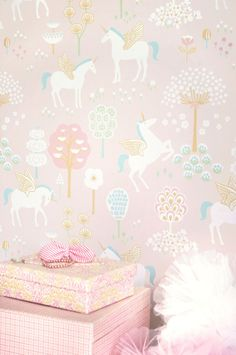 This true Unicorns wallpaper design comes on three pastel shades. It would look lovely in a kid's room or nursery.
