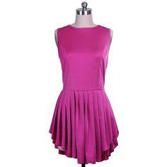 Scoop Neck Asymmetric Pleated Sleeveless Women's Dress