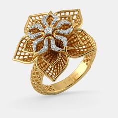 The Daffodil Lattice Diamond Ring In Yellow Gold gram) with Diamonds Best Ring Designs, Gold Ring Designs, Gold Jewellery Design, Jewellery Display, Stylish Rings, Rings Cool, Diamond Jewelry, Gold Jewelry, Bridal Jewelry